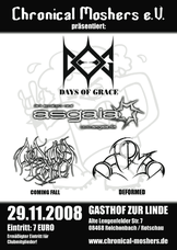 29.11.2008: Days Of Grace - Asgaia - Coming Fall - Deformed