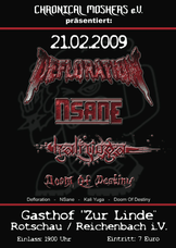 21.02.2009: Defloration - Nsane - Kali Yuga - Doom Of Destiny